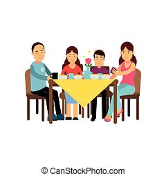 Happy family having meal together, husband and wife with children sitting at the table vector Illustration