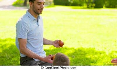happy family having picnic at summer park - family, leisure...