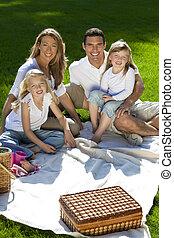 Happy Family Having Picnic In A Park