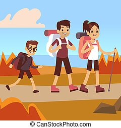 Happy family hikers. Dad, mom and son trekking - Happy...