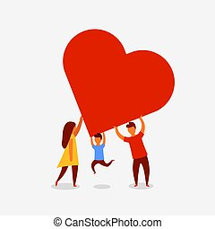 Happy family holding a big red heart. Love concept.