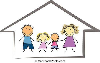 happy family home / house children