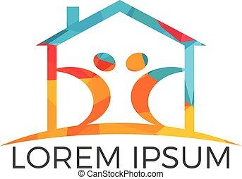Happy family home logo design.