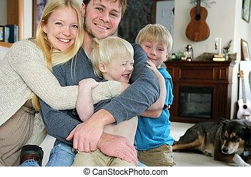 Happy Family Hugging in Living Room