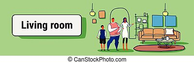 happy family husband wife and son standing together modern living room interior woman showing hand new apartment house sketch doodle horizontal banner full length