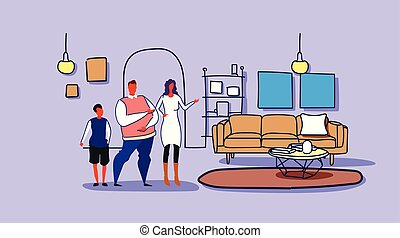 happy family husband wife and son standing together modern living room interior woman showing hand new apartment house sketch doodle horizontal full length