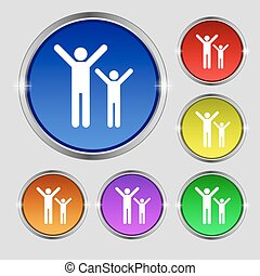happy family icon sign. Round symbol on bright colourful buttons. Vector