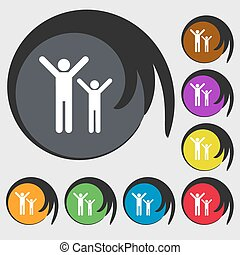 happy family icon sign. Symbol on eight colored buttons. Vector