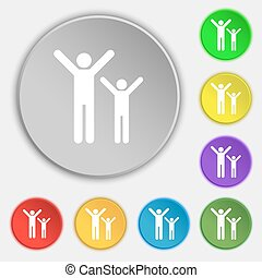 happy family icon sign. Symbol on five flat buttons. Vector