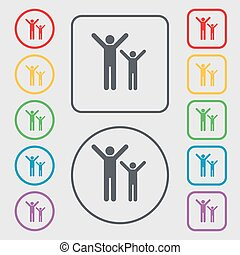 happy family icon sign. symbol on the Round and square buttons with frame. Vector
