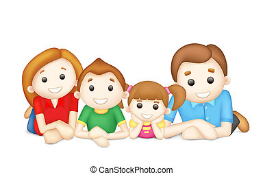 Happy Family - illustration of 3d happy family in vector ...