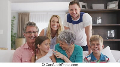 Happy family in a house