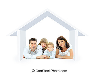 Happy family in a house. Isolated over a white backgroun