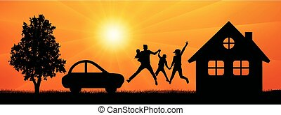 Happy family in a jump surrounded by nature near a house, car, tree. Man and woman with children at sunset vector silhouette.