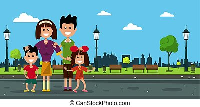 Happy Family in City Prk. Vector Flat Design Illustration.