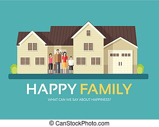 Happy family in flat design background concept. Mom, dad, son and daughter standing near big house. Icons for your product or illustration, web and mobile applications
