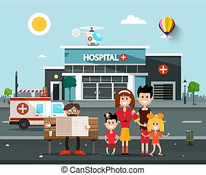 Happy Family In front of Hospital Building with Old Man Reading Newspapers on Bench.  Vector Flat Design Cartoon.