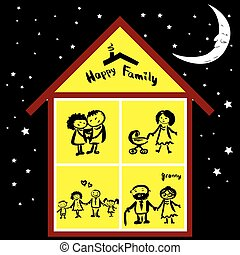 Happy family in house at night