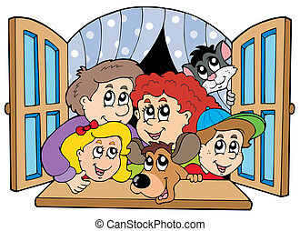 Happy family in open window - vector illustration.