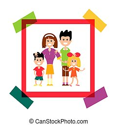 Happy Family in Paper Frame. Vector Photo Illustration.