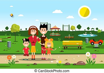 Happy Family in Park. Spring Vector Landscape.