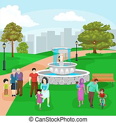 Happy family in park with fountain, boys and girls playing outdoors around garden waterfall, casual people in vacation vector illustration