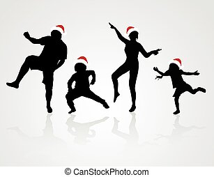 Happy family in Santa Claus hat