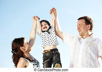happy family in sky