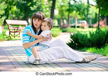 Happy family in sunny park