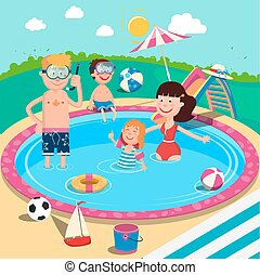 Happy Family in Swimming Pool. Smiling Parents and Children Having Fun on Summer Vacation