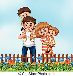 Happy family in the flower graden
