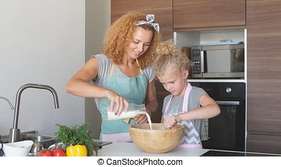 happy family in the kitchen. mother and child daughter cooking together.