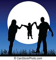 happy family in the moonlight black