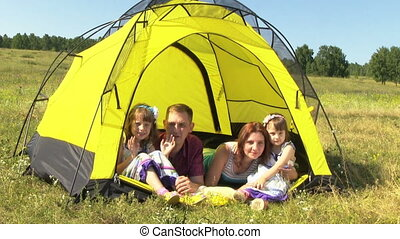 Happy Family In The Tent