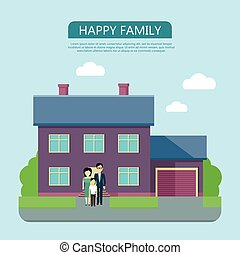 Happy Family in the Yard of Their House
