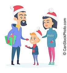 Happy Family in Warm Clothes on White Background