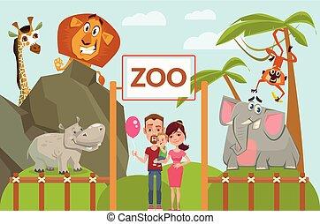 Happy family in zoo. Vector flat cartoon illustration