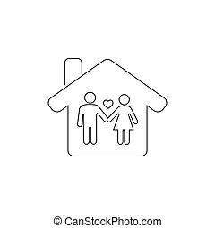 Happy family inside the house line icon. Stay at home