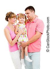 Happy family isolated on white background