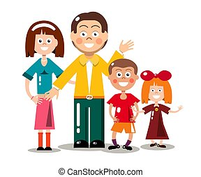 Happy Family Isolated on White Background. Vector Flat Design Cartoon.
