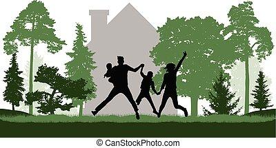 Happy  family jumps  near the house among trees. Vector