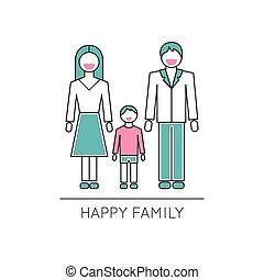 Happy family line icon