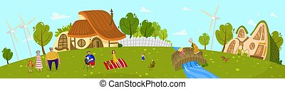 Happy family living in countryside, summer outdoor picnic, people vector illustration
