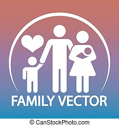 Happy family logo design - parents and two kids emblem