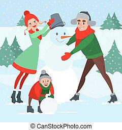 Happy Family Making Snowman. Winter Holidays. Christmas Time. Vector illustration