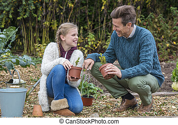 Happy Family Man Girl Child Father Daughter Gardening