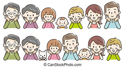 Happy family members sitting side by side with hands on chin.