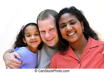 Happy Family - Mixed race family set on a white background