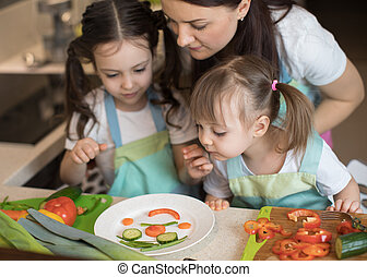 happy family mother and child girl are preparing healthy food, they improvise together in the kitchen