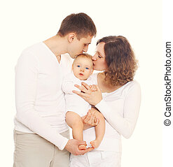 Happy family mother and father kissing baby on white background